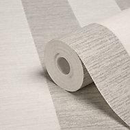 Colours Shimmer White & silver Striped Glitter Wallpaper