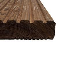 Premium Brown Softwood Deck board (T)28mm (W)144mm (L)4800mm