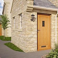 Diamond bevel Glazed Cottage White oak veneer LH & RH External Front Door, (H)2032mm (W)813mm