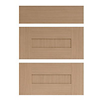 IT Kitchens Westleigh Textured Oak Effect Shaker Drawer front (W)600mm, Set of 3