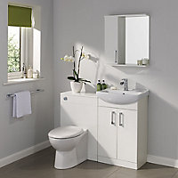 Ardenno Gloss White Single door Mirrored Cabinet (W)550mm (D)630mm
