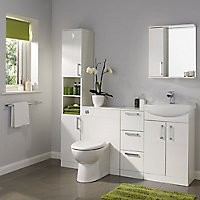 Ardenno Gloss White Single door Tall Cabinet (W)300mm (H)1820mm