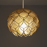 Colours Elvira Capiz grey Artichoke Light shade (D)200mm