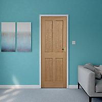 4 panel Oak veneer Internal Door, (H)1981mm (W)762mm