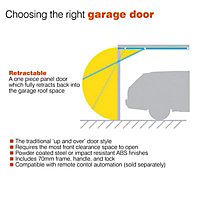 Alaska Framed White Retractable Garage door, (H)2134mm (W)2134mm