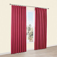 Shelley Strawberry Semi plain Lined Pencil pleat Curtains (W)167cm (L)183cm, Pair