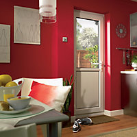 2 panel Frosted Glazed White uPVC LH External Back Door set, (H)2055mm (W)920mm