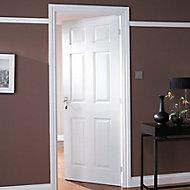 6 panel Unglazed White Internal Door & frame set