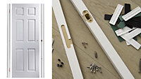 6 panel Unglazed White Internal Door & frame set