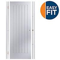 Easy fit Cottage Pre-painted White Adjustable Internal Door & frame set, (H)1988mm-1996mm (W)683mm-695mm