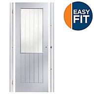 Easy fit Glazed Cottage Pre-painted White Adjustable Internal Door & frame set, (H)1988mm-1996mm (W)759mm-771mm