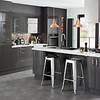 Cooke & Lewis Raffello High Gloss Anthracite Slab Appliance & larder Clad on wall panel (H)760mm (W)405mm