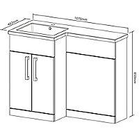 Cooke & Lewis Ardesio Gloss White Left-handed Vanity & toilet unit