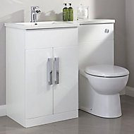 Cooke & Lewis Ardesio Gloss White Left-handed Vanity & toilet unit