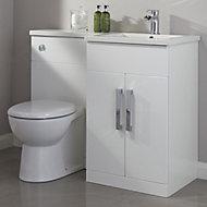 Cooke & Lewis Ardesio Gloss White RH Vanity & toilet pack