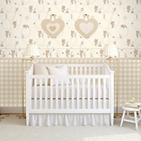 Baby Colours Little teddy Beige Smooth Wallpaper