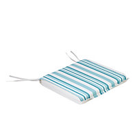 Gotland Turqoise & white Striped Seat pad, Pack of 6