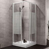 Plumbsure Square Shower enclosure with Double sliding doors & Striped Glass (W)760mm (D)760mm