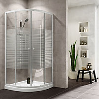 Plumbsure Quadrant Shower enclosure with Double sliding doors & Striped Glass (W)800mm (D)800mm