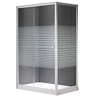 Plumbsure Rectangular Shower enclosure with Single sliding door & Striped Glass (W)1200mm (D)760mm