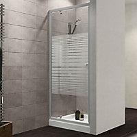 Plumbsure Shower door with Pivot door & Striped Glass (W)760mm