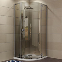 Cooke & Lewis Luxuriant Quadrant Shower enclosure with Hinged door & Smoked Glass (W)900mm (D)900mm