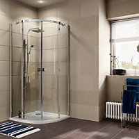 Cooke & Lewis Luxuriant Quadrant Shower enclosure with Double sliding doors (W)900mm (D)900mm