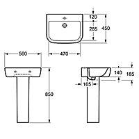Cooke & Lewis Affini Square Full pedestal basin