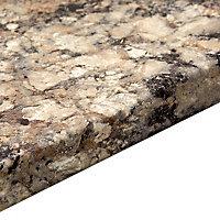 38mm Carnival granite Grey Marble effect Laminate Round edge Kitchen Breakfast bar Worktop, (L)3000mm