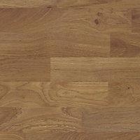 B&Q Colmar Oak Wood effect Laminate Splashback, (H)600mm (W)3050mm (T)9mm