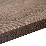 38mm Mountain timber Black Wood effect Laminate Square edge Kitchen Breakfast bar Worktop, (L)3000mm