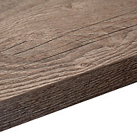 38mm Mountain timber Black Wood effect Laminate Square edge Kitchen Breakfast bar Worktop, (L)2000mm