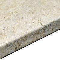 38mm Natural stone Brown Marble effect Laminate Round edge Kitchen Worktop, (L)3000mm