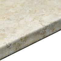 38mm Natural stone Brown Marble effect Laminate Round edge Kitchen Breakfast bar Worktop, (L)3000mm