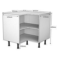 Cooke & Lewis White Corner Base cabinet, (W)925mm