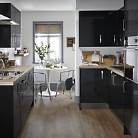 IT Kitchens Santini Gloss Black Slab Appliance & larder Wall end panel (H)720mm (W)290mm