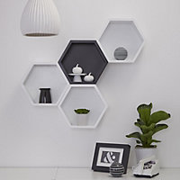 White Matt Hexagon Shelf (L)270mm (D)270mm
