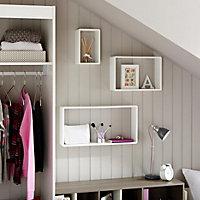 White Matt Rectangle shelf (L)600mm (D)300mm, Pack of 3