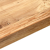 38mm Mississippi pine Wood effect Laminate Square edge Kitchen Curved corner Worktop, (L)950mm