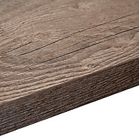 38mm Mountain timber Wood effect Laminate Square edge Kitchen Right-hand curved Worktop, (L)1800mm