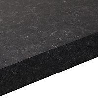 38mm Lima Matt Black Granite effect Laminate Square edge Kitchen Left-hand curved Worktop, (L)1800mm