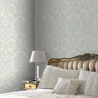 Kensington Cream & pearl blue Textured Wallpaper