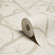 Grandeco Standards Neutral Foliage Mica effect Embossed Wallpaper