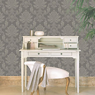 Etch Charcoal & gold Metallic Wallpaper