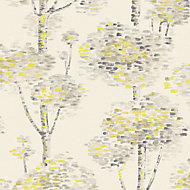 A.S. Creation Wall Fashion Painterly Grey & yellow Tree Embossed Wallpaper