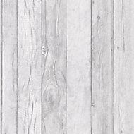 Ideco home Grey Wood panel Wood effect Embossed Wallpaper