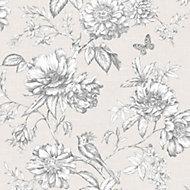 Menagerie Cream & white Floral Wallpaper