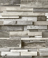 Gold Horizontal Wood Grey Faux wall Wallpaper