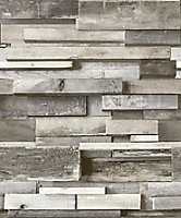 Gold Horizontal wood Grey Faux wall Embossed Wallpaper