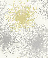 Gold Cosmo Yellow & grey Floral Glitter Wallpaper